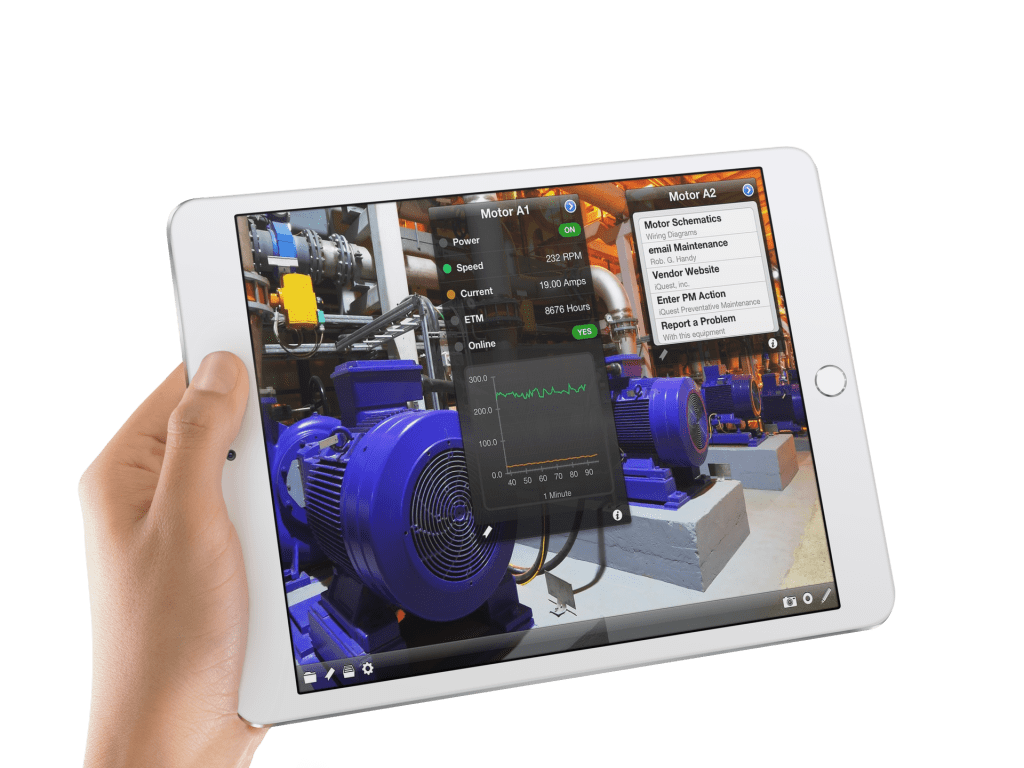 iQagent industrial AR software on the ipad Pro